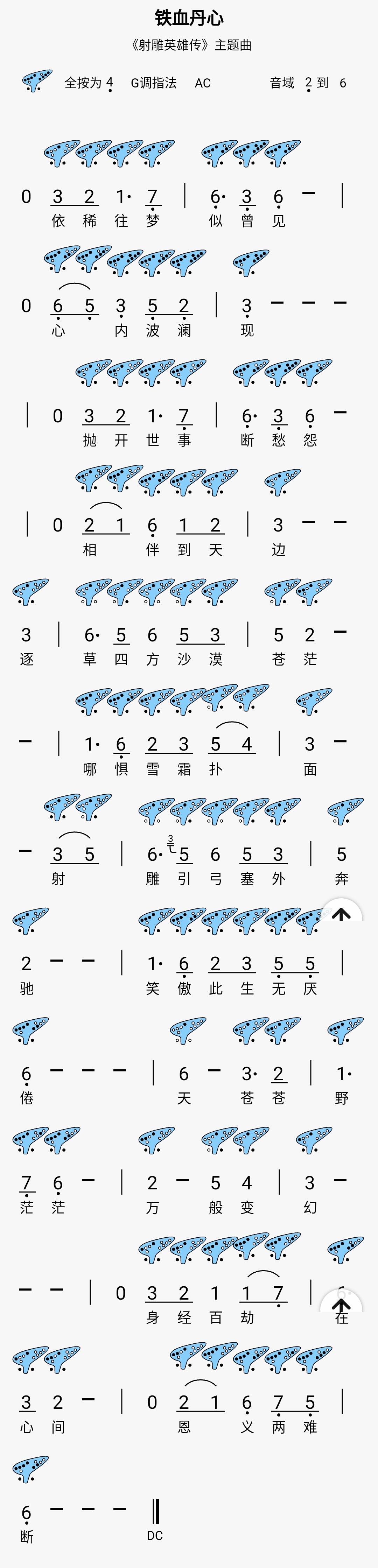 【铁血丹心】12孔陶笛曲谱