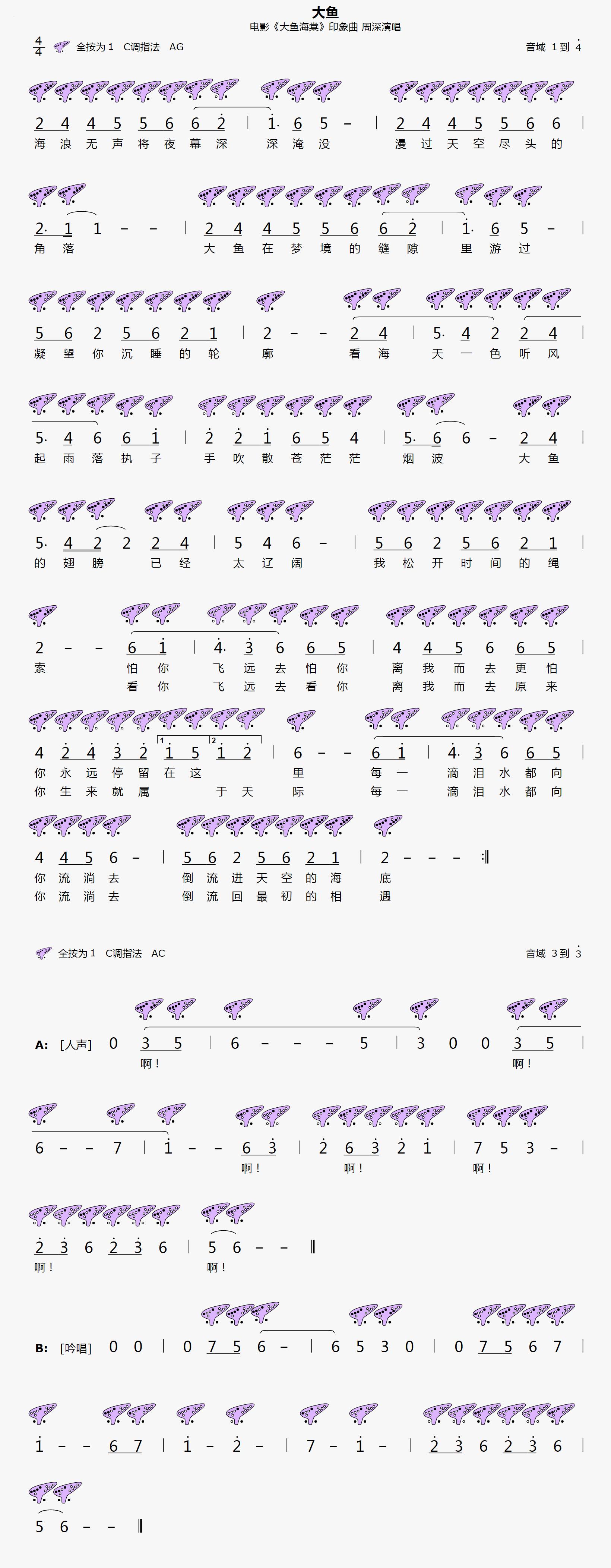 12孔-《大鱼》陶笛简谱